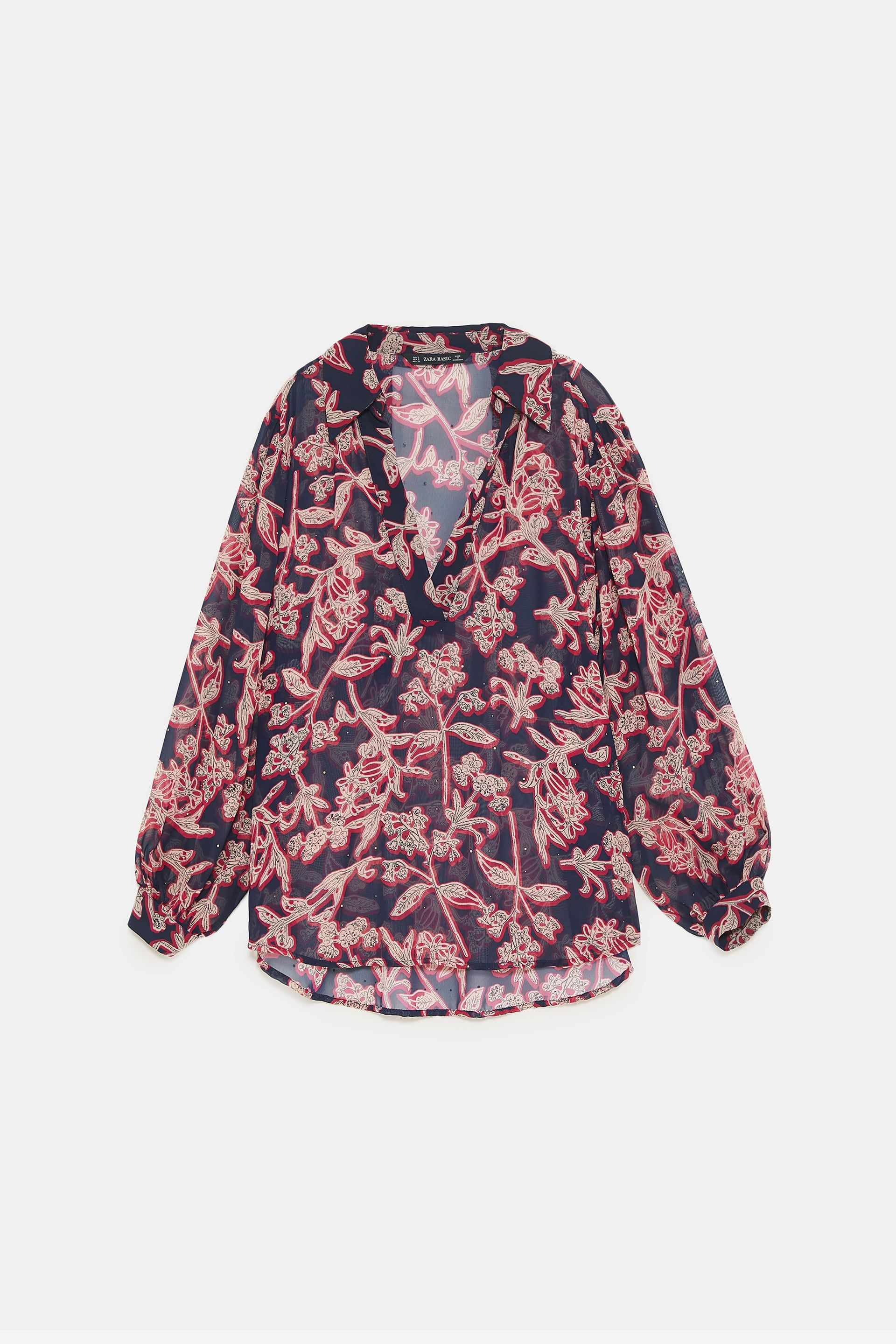 bcf54829 Image 8 of STUDDED FLORAL PRINT BLOUSE from Zara | fw18 | Printed ...