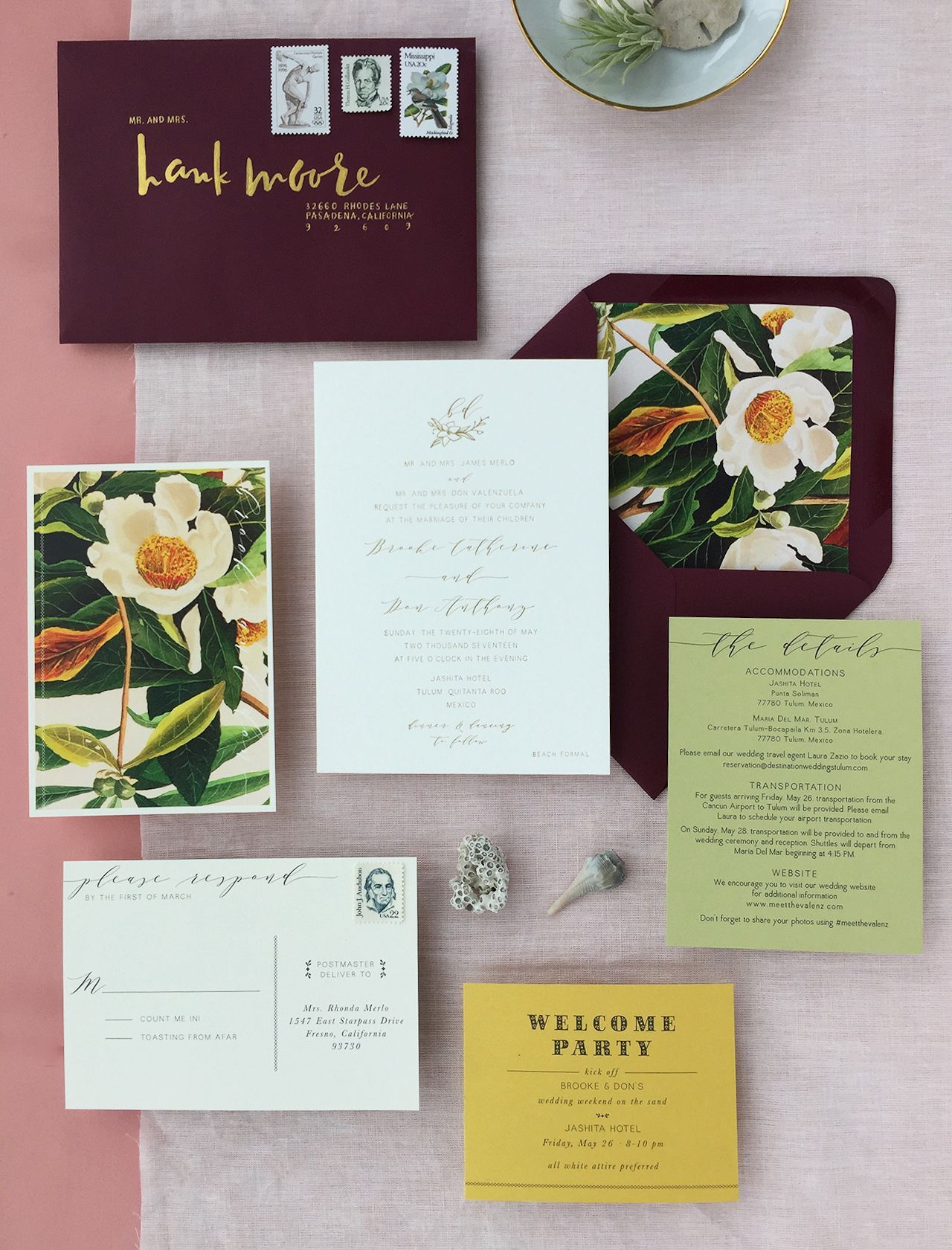 Romantic Burgundy And Gold Foil Wedding Invitations With Floral