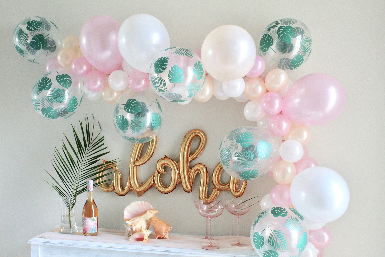 "Sempertex Leaves Clear /& Green 12/"" Latex Balloons Hawaiian Party Decorations"