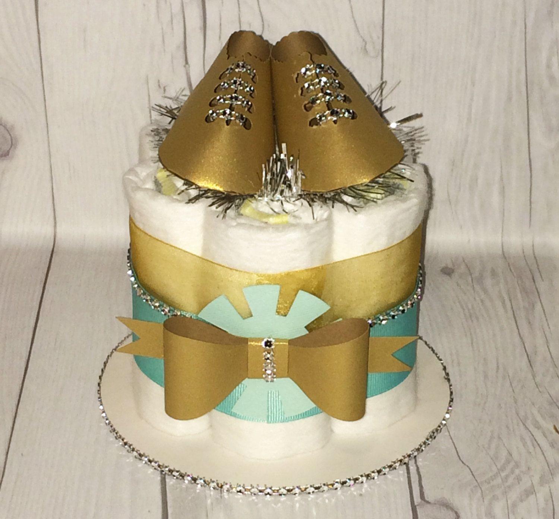 Aqua gold silver mini diaper cake centerpiecesballoon