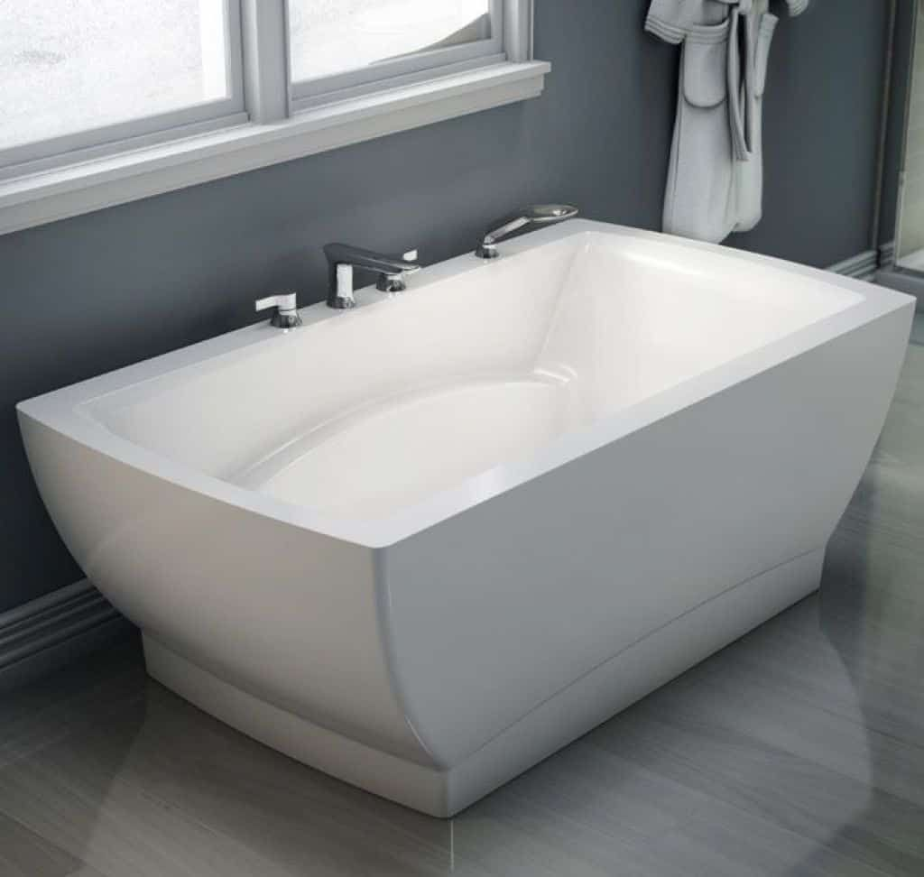 White freestanding soaking tub with jet bathroom soaking tub with jets soaking tubs relieve stress from the body it can also be very soothing and