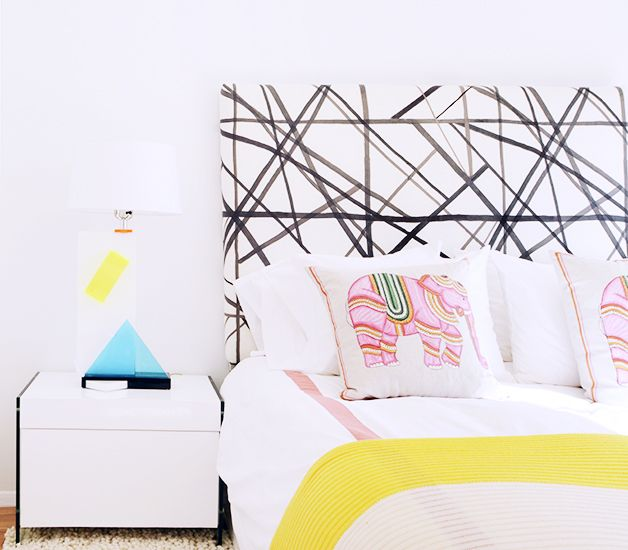 Home Tour: A Design Assistant's Technicolor New York Pad // Kelly Wearstler, headboard