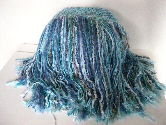 Fringe Blanket Phot Prop Baby blanket Knit Crochet by LocustTree, $38.00