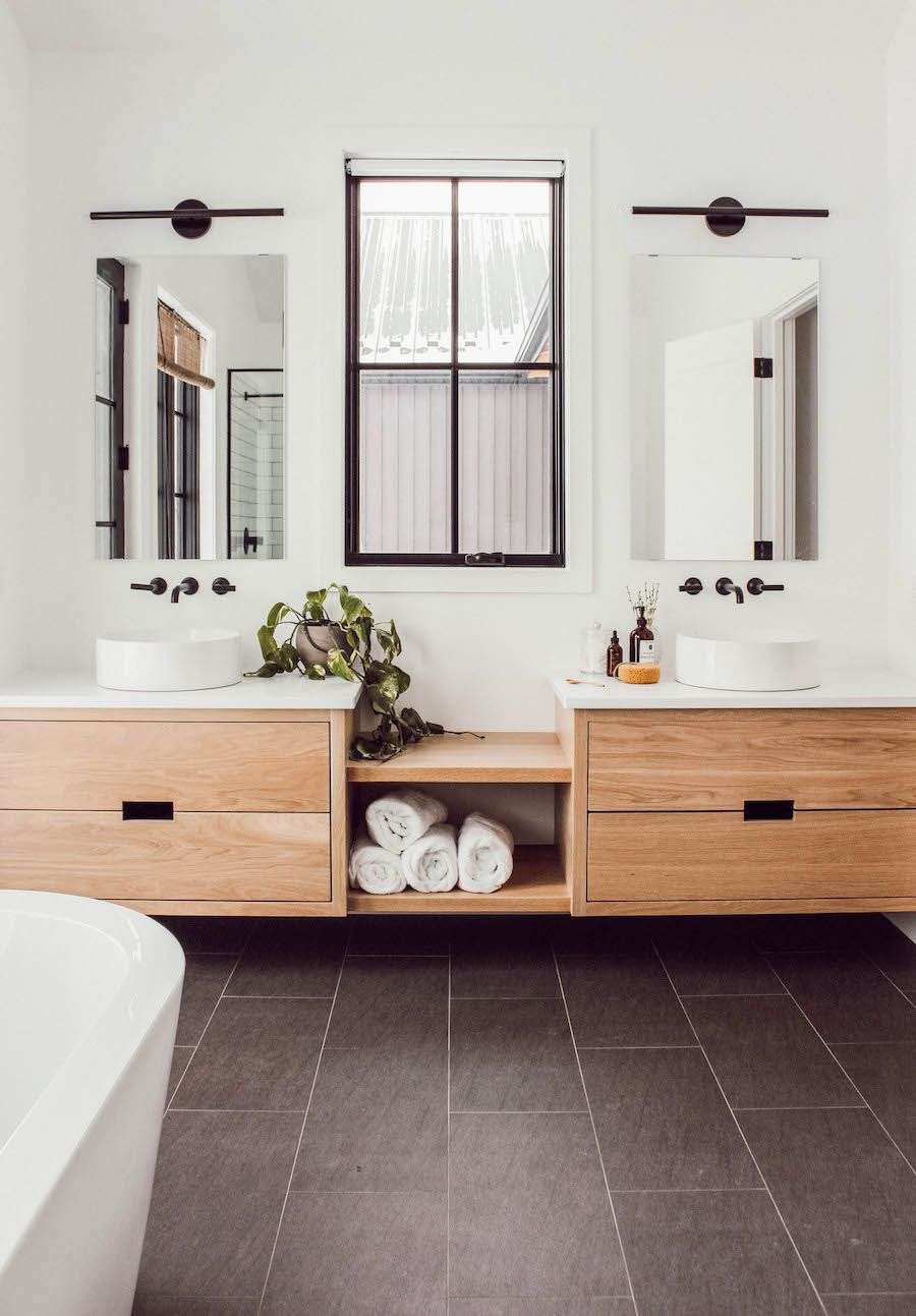 this canadian mom of three s home perfectly mixes on modern functional bathroom design id=49237