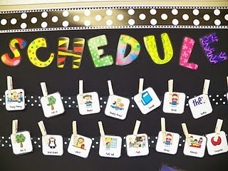 One daily schedule idea cards on clothespine ribbon also best classroom ideas images preschool primary school rh pinterest