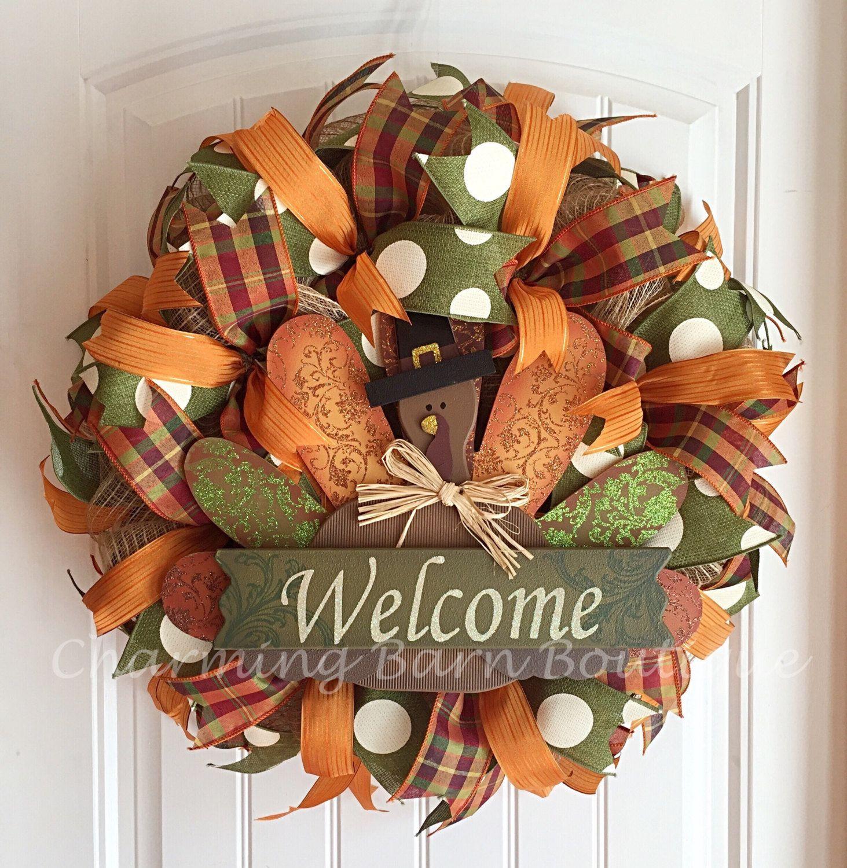 Fall Wreath, Welcome Wreath, Fall Turkey Wreath, Thanksgiving Wreath, Autumn
