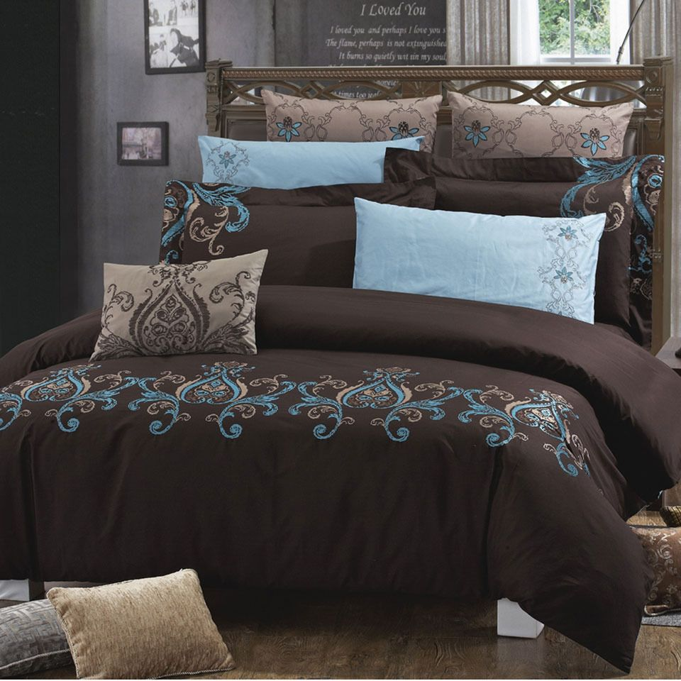 Chocolate And Turquoise Bedding.