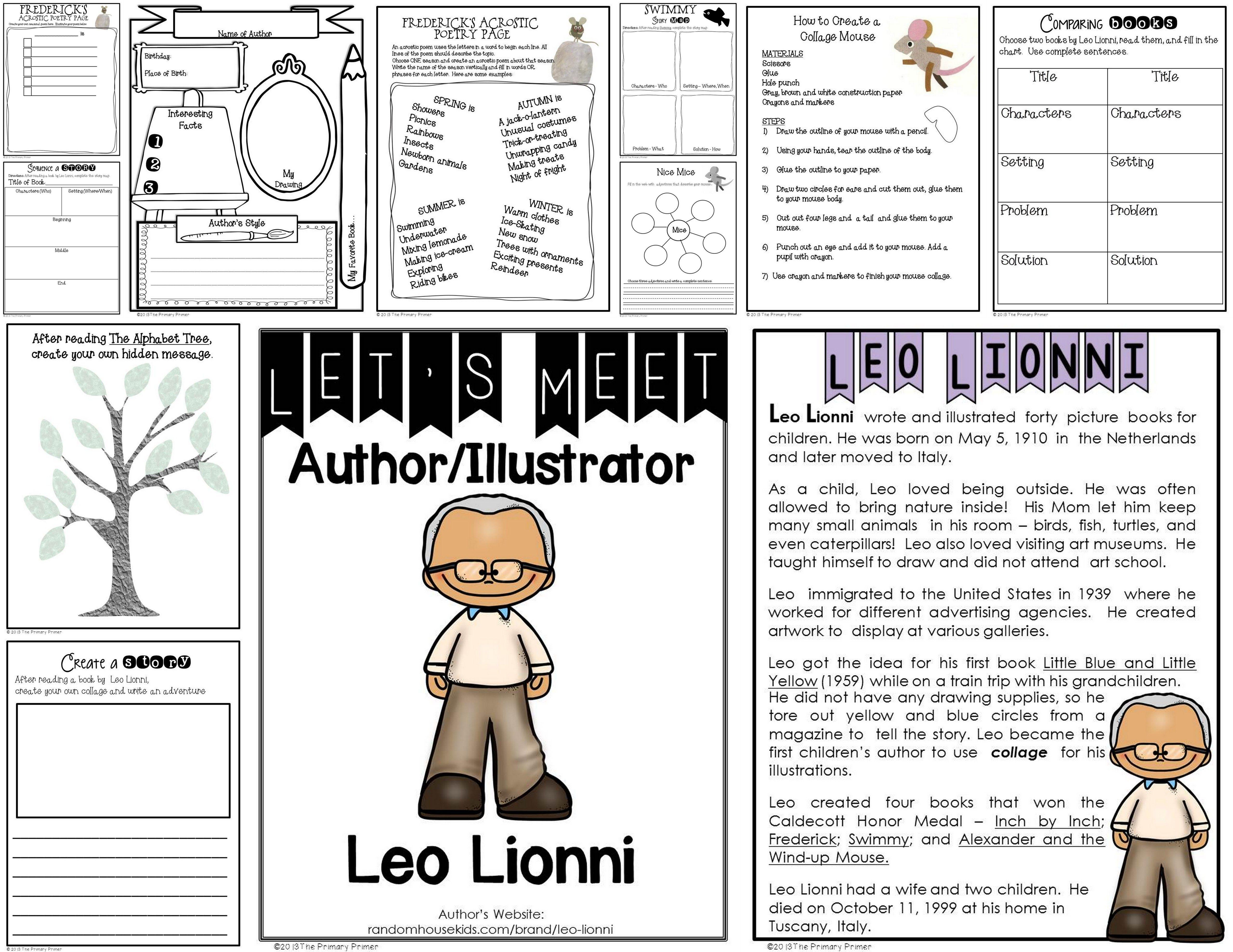 Leo Lionni An Author Study Packet