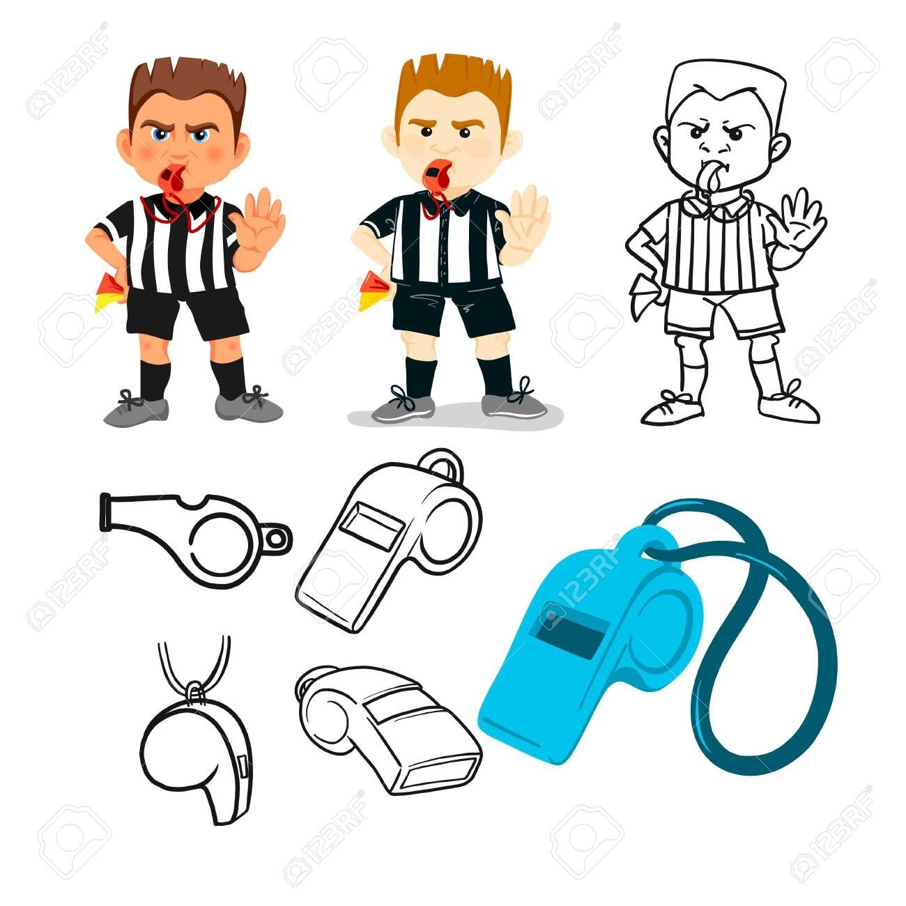 Whistling Soccer Referee Showing Stopping Hand During Match Human Character Vector Illustration Sport Soccer Referee Character Illustration How To Draw Hands