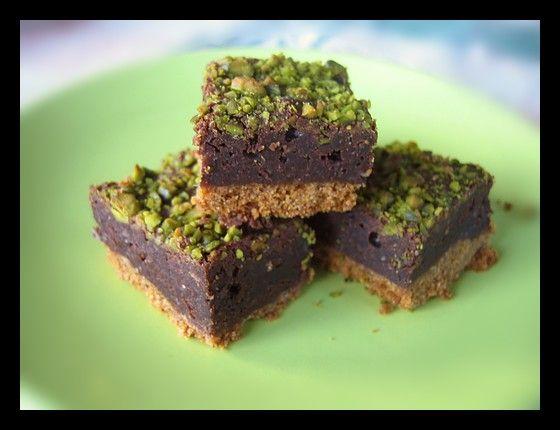 carres fondants spéculoos, chocolat noir et pistaches