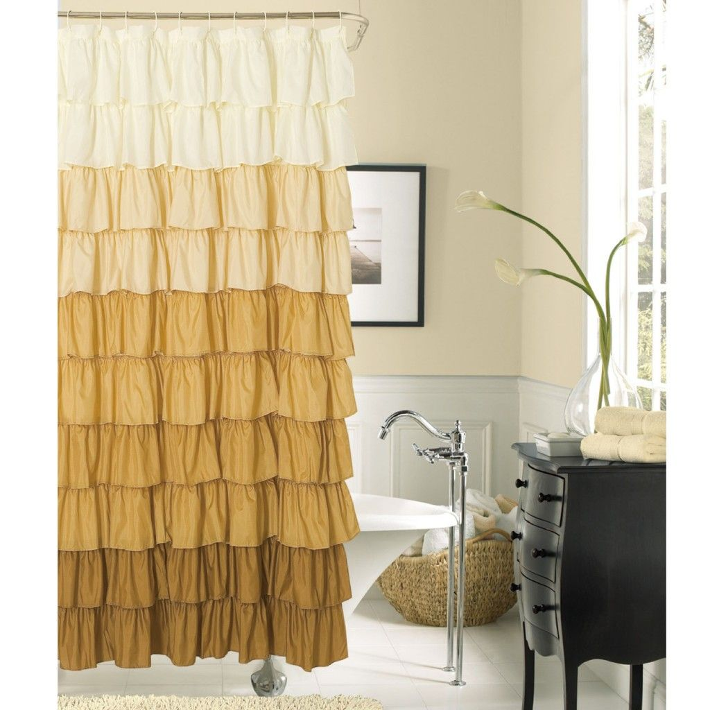 Inspiration Decorations Incredible Brown To White Ruffled Extra Long Shower Curtain