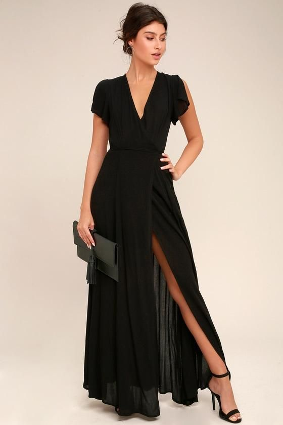 Fall Fashion Trends Styles Adorewe Lulus Heart Of Marigold Black Wrap Maxi Dress