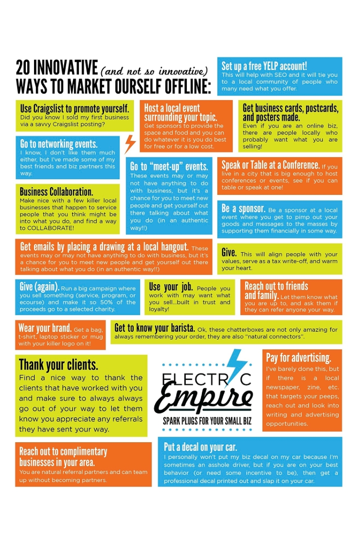 20 Innovative (and Not-So-Innovative) Offline Marketing Tips by Electric Empire