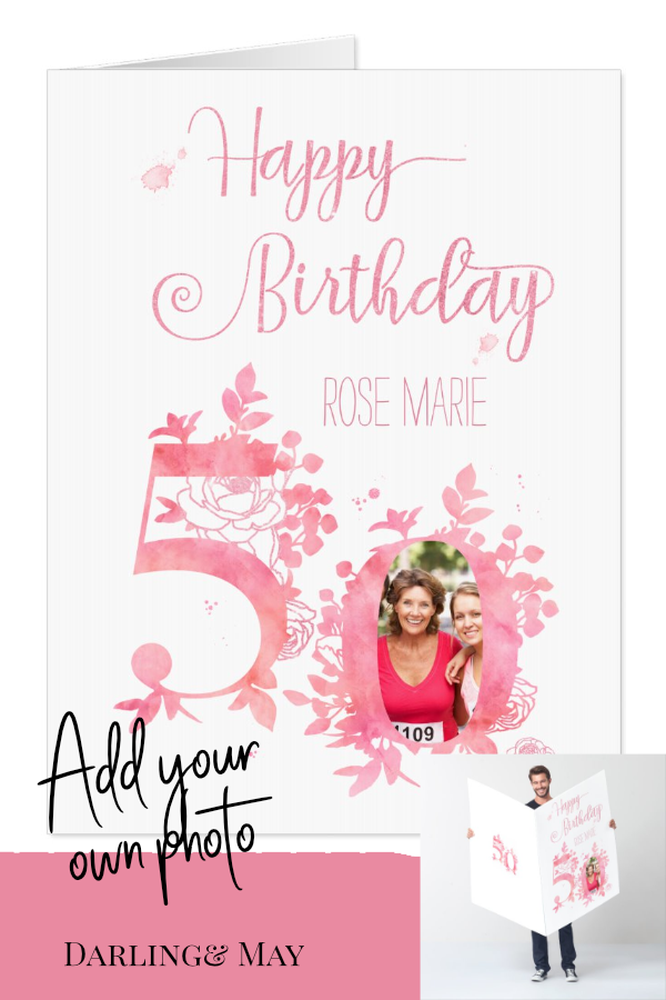 Jumbo 50th BirthdayPhoto Card #moms50thbirthday
