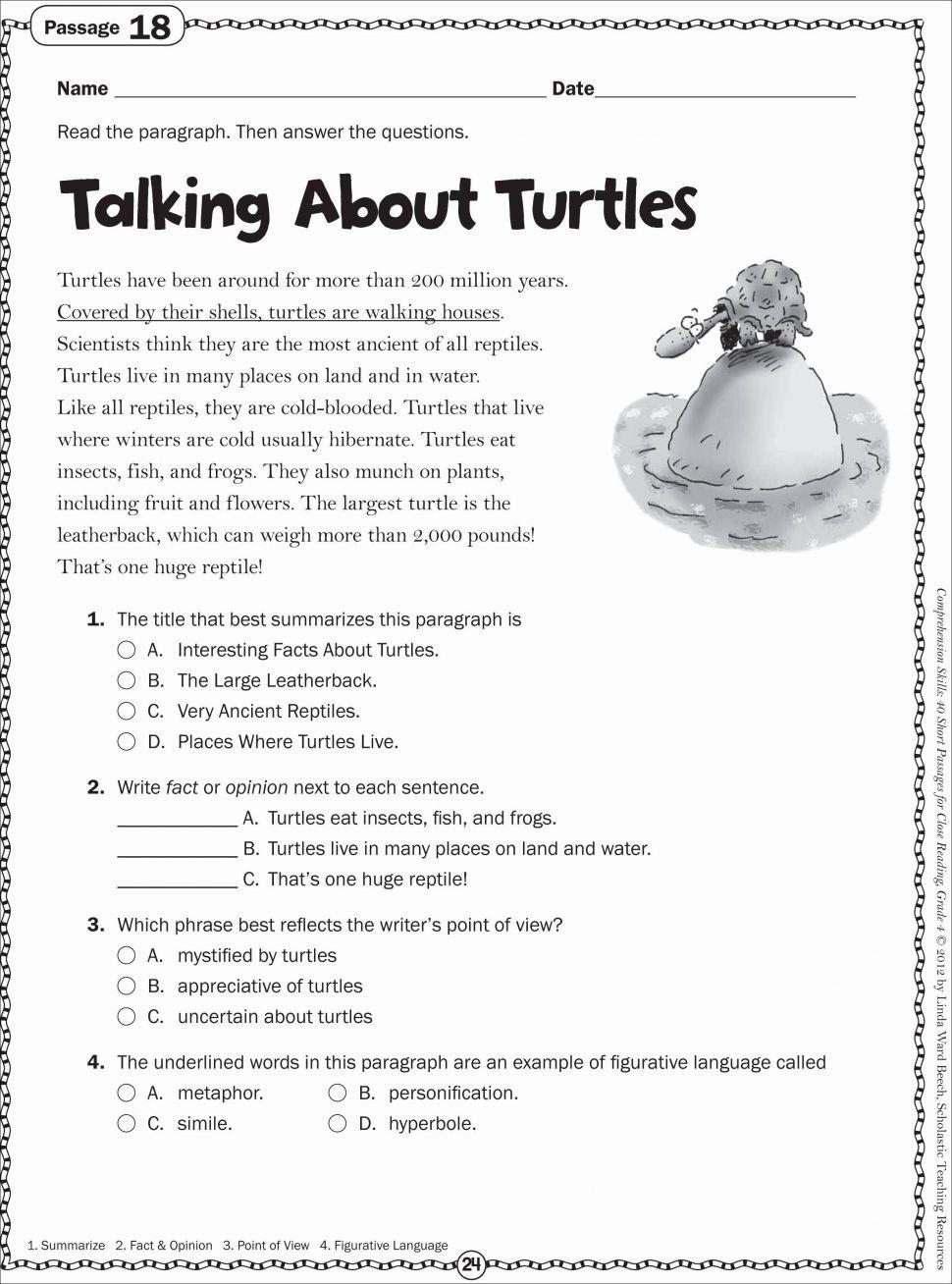 4 Worksheet Reading Comprehension Worksheets Fifth Grade 5 Leveled
