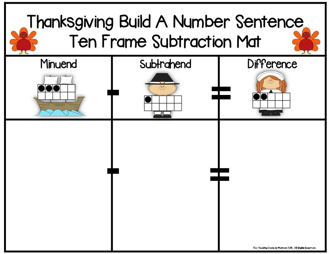 Thanksgiving 2 Addend Addition Amp Subtraction With Ten