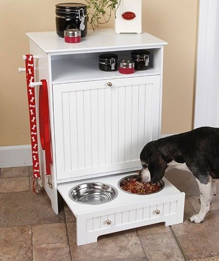 Details about NEW Beadboard Pet Dog Food Feeder Cabinet Storage ...