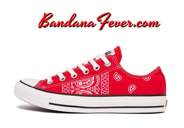 404792e5f563 Custom White Bandana Converse Shoes Low Red