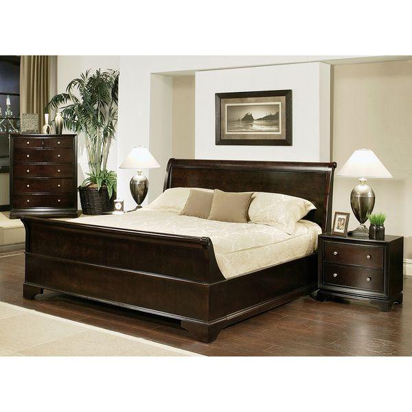 Abbyson Living Kingston 4 Piece Espresso Sleigh King Size Bedroom