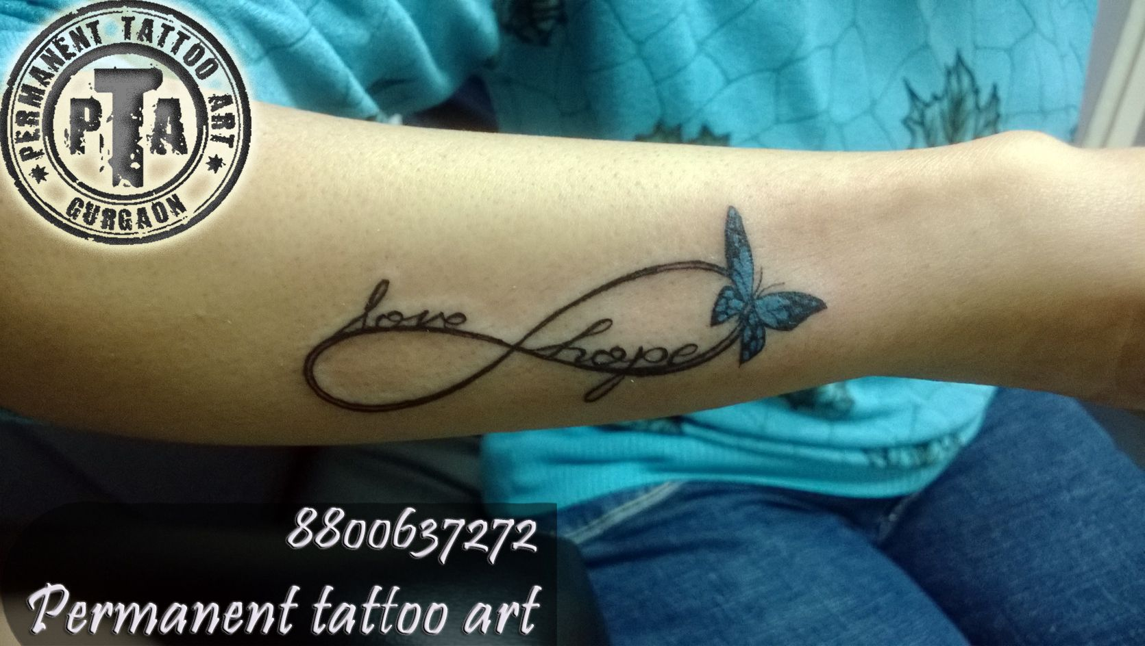 Name In Infinity Symbol With Butterfly At Permanent Tattoo Art Done By Deep Kalra Call 8800637272 Tattoos Name Tattoo Designs Latest Tattoo Design