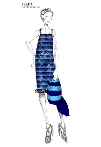 Multi-striped sequins dress with a plastic and trimmings embroidery at the bottom. Inspired by the Prada Spring/Summer 2011 collection. Miuccia Prada's Great Gatsby costumes fashion illustration