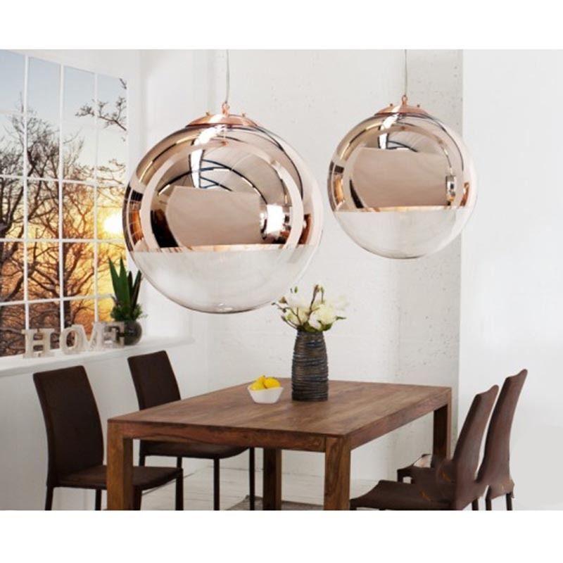 Design Hängelampe Kugellampe Globe Pendelleuchte Glas Kupfer - hängelampen für wohnzimmer