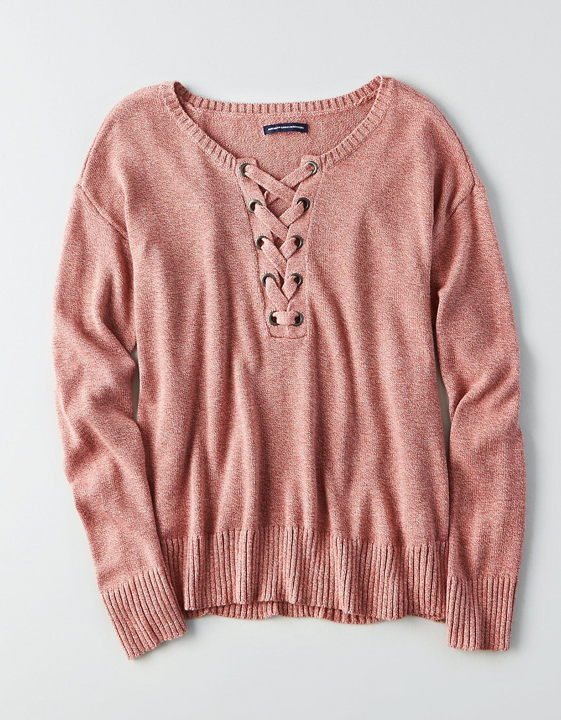 AEO Lace,Up Front Sweater, Blush