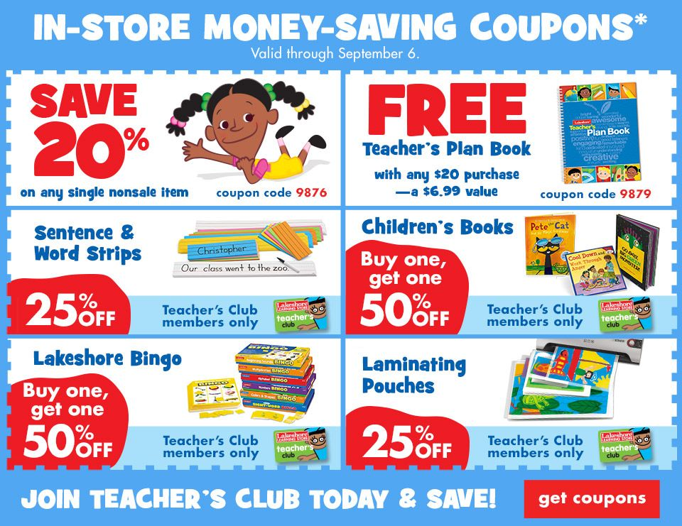 image relating to Lakeshore Learning Printable Coupons referred to as Income-preserving coupon codes! Watch what youll preserve! For the kiddos