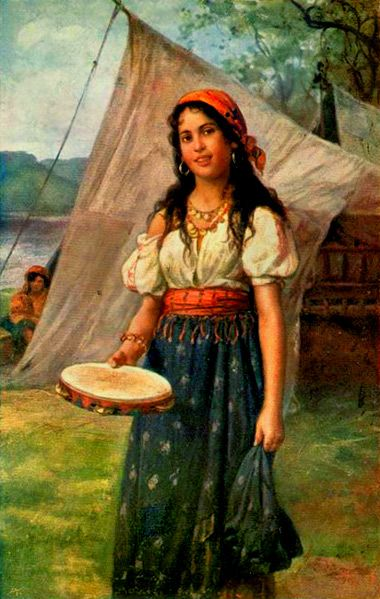 A Young Gypsy Woman With a Tambourine Unknown artist the