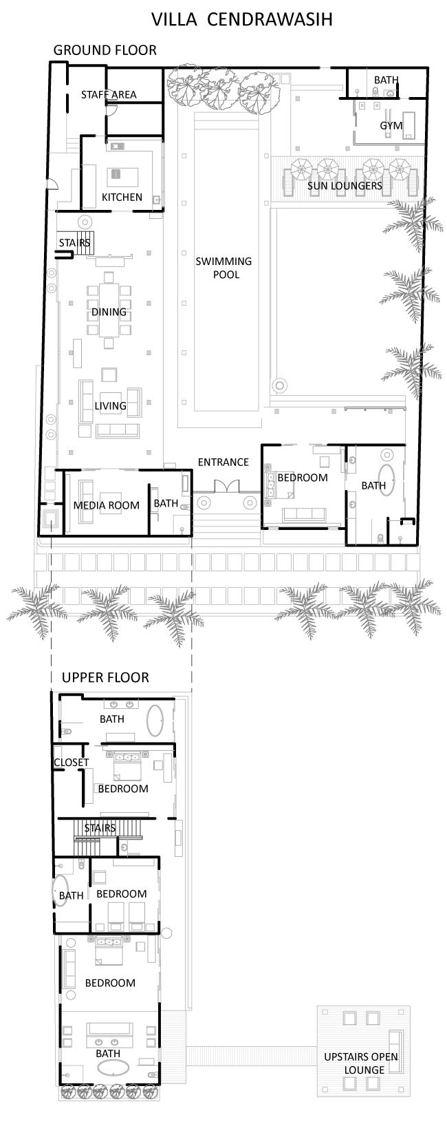 Villa Cendrawasih Bali Style Home Hotel Floor Plan Bali House