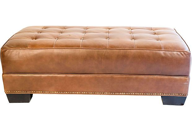 Astonishing Leather Ottoman W Nailhead Trim Oddities Tufted Leather Caraccident5 Cool Chair Designs And Ideas Caraccident5Info