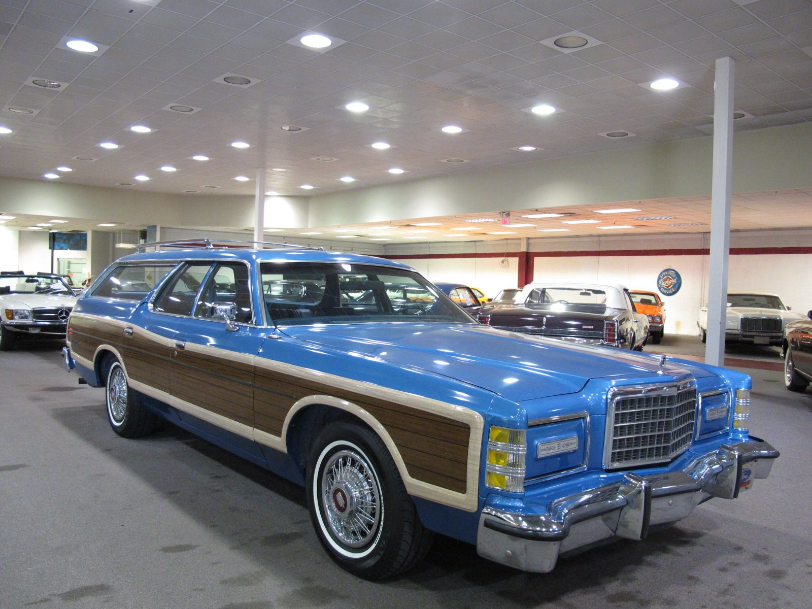 1978 ford ltd country squire in original bright blue glow metallic the wheel covers are circa 1980s but what a great looking wagon