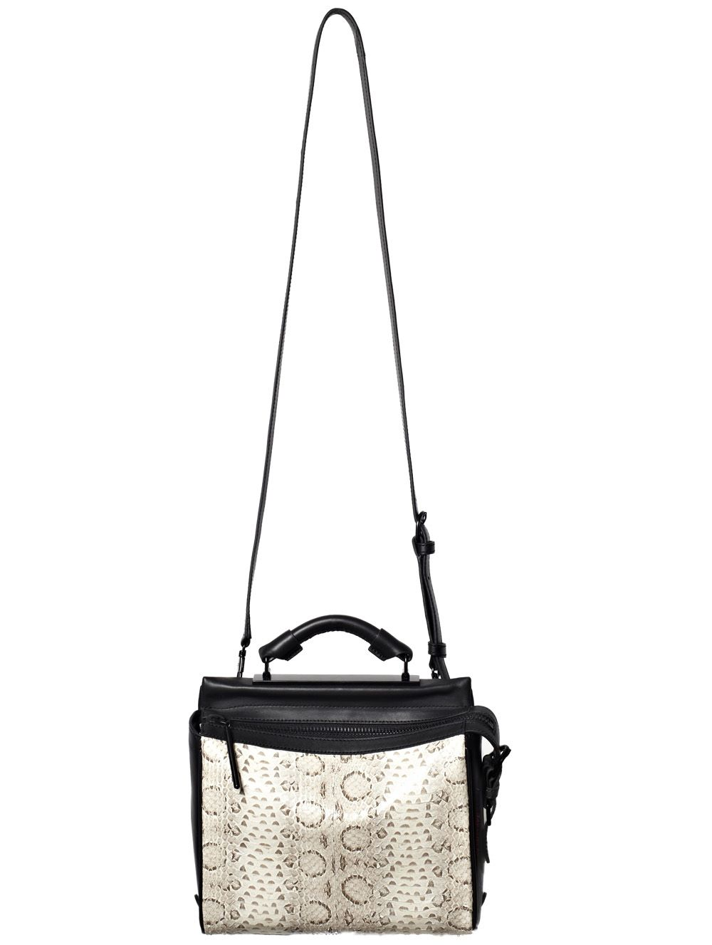 $575.00 on @Keaton Row website, click to see it in action. 3.1 Phillip Lim's Small Ryder Satchel in chic grey snakeskin is perfect for the 9-5 workweek and beyond | Leather bag featuring single top handle | Top zipper closure | Detachable cross-body strap | Front snake leather panel | Dust bag included.   60% Leather, 40% Snake leather