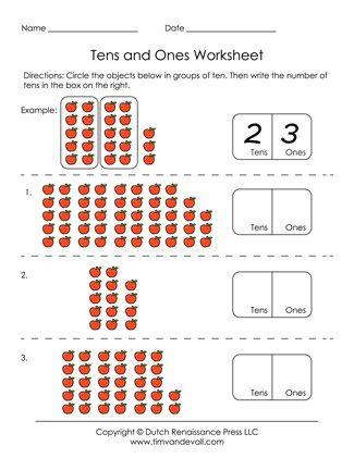 Tens And Ones Worksheet Tens And Ones Worksheets Tens And Ones First Grade Math Worksheets First grade tens and ones worksheet