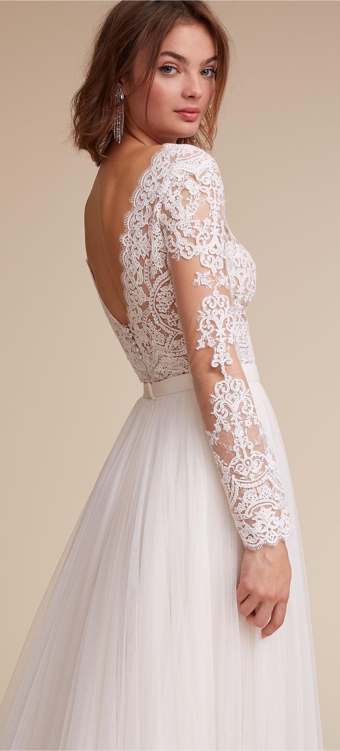 Sheer long sleeve wedding dresses  Longsleeve lace wedding dress by BHLDN  Lace Wedding Dresses
