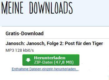 "Gratis: Janosch-Hörbuch ""Post für den Tiger"" zum Nulltarif https://www.discountfan.de/artikel/c_gratis-angebot/gratis-janosch-hoerbuch-post-fuer-den-tiger-zum-nulltarif.php Das Janosch-Hörbuch ""Post für den Tiger"" gibt es jetzt für kurze Zeit komplett gratis. Die gezippte Download-Datei ist knapp 48 MByte groß. Gratis: Janosch-Hörbuch ""Post für den Tiger"" zum Nulltarif (Bild: Leo-Lauscher.de) Um das Janosch-Hörbuch ""Post für den Tiger"