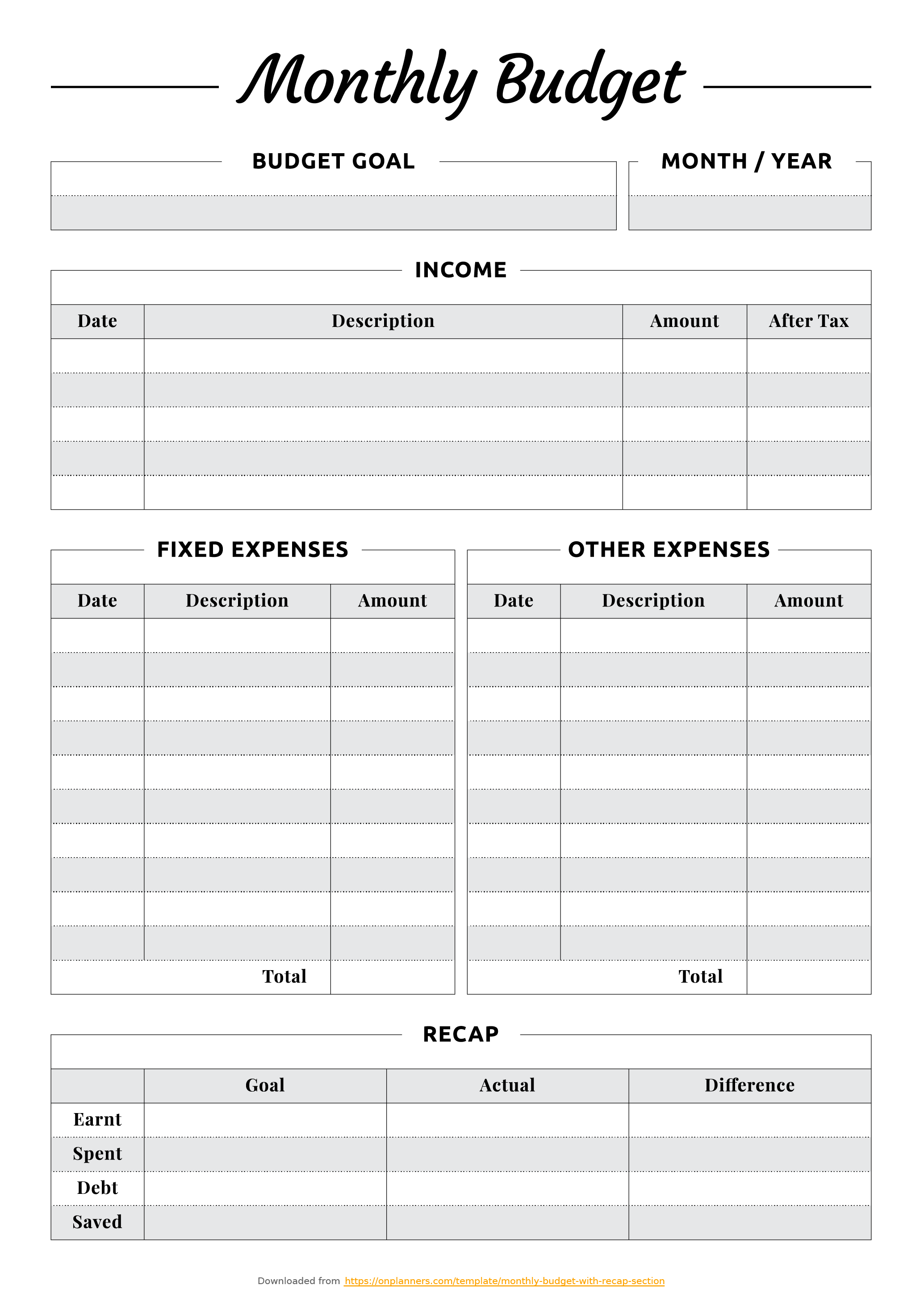 Printable Monthly Budget With Recap Section Download