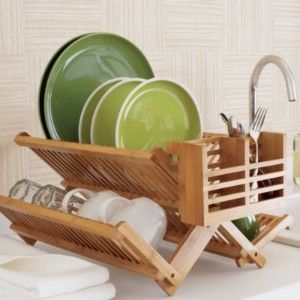 Bamboo Dish Drainer Dish Rack Drying Kitchen Furniture Bamboo Dishes