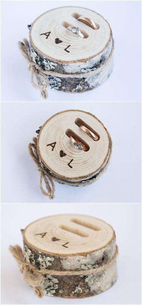 Almohada rústica para portador de anillo, rebanada de madera para boda, caja de anillo rústica, abedul …