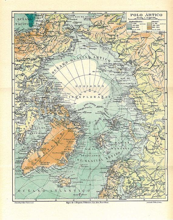 North Pole Vintage Map Expeditions Arctic Ocean By Carambas - 1920s north eastern us map