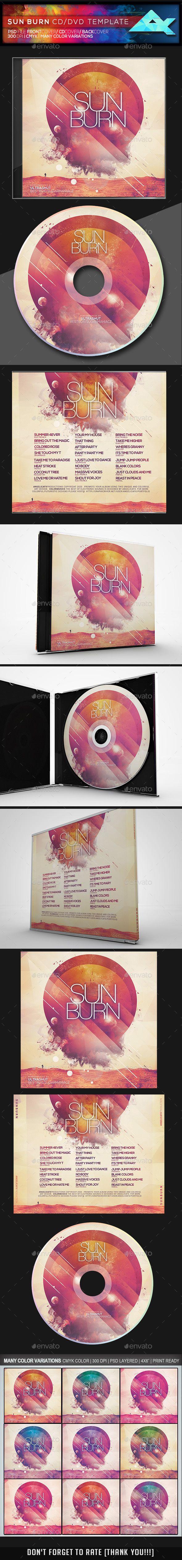 sun burn cddvd template cd dvd artwork print templates