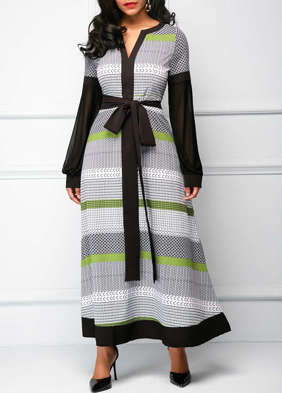 Belted split neck long sleeve maxi dress rosewe usd