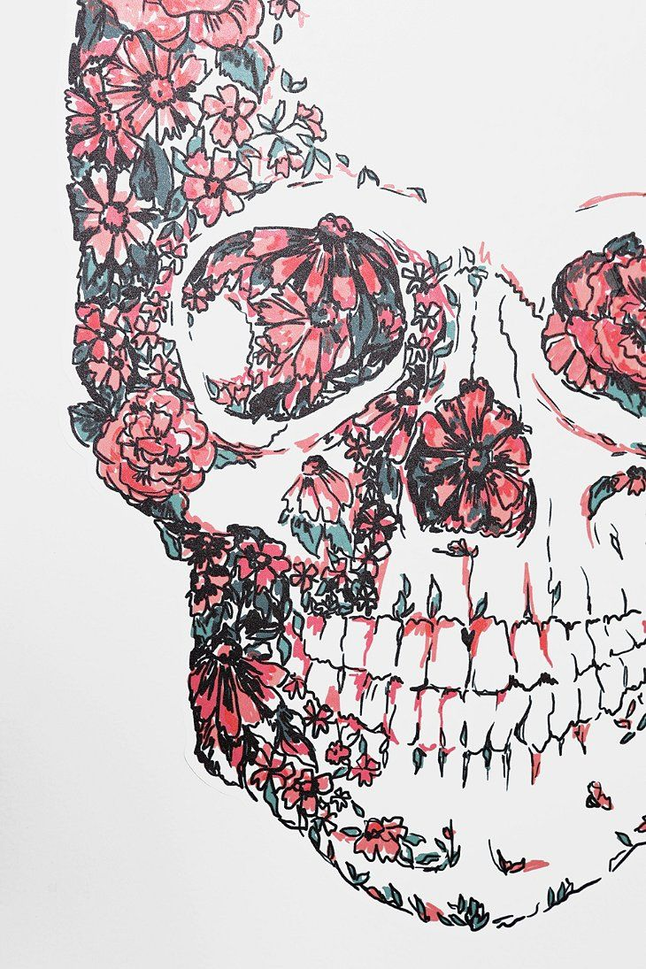 Floral skull wall decal urban outfitters calaveras pinterest