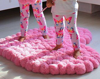 Pom Pom Rug for Girl Room, Soft Rug for Baby Room, Nursery Area Rug, Bedroom Rug, Colorful Heart Rug, Floor Decor, Custom Colors is part of bedroom Rug Soft - items section id 19067339 Thank you for the visit! Jo from PomponMyLove
