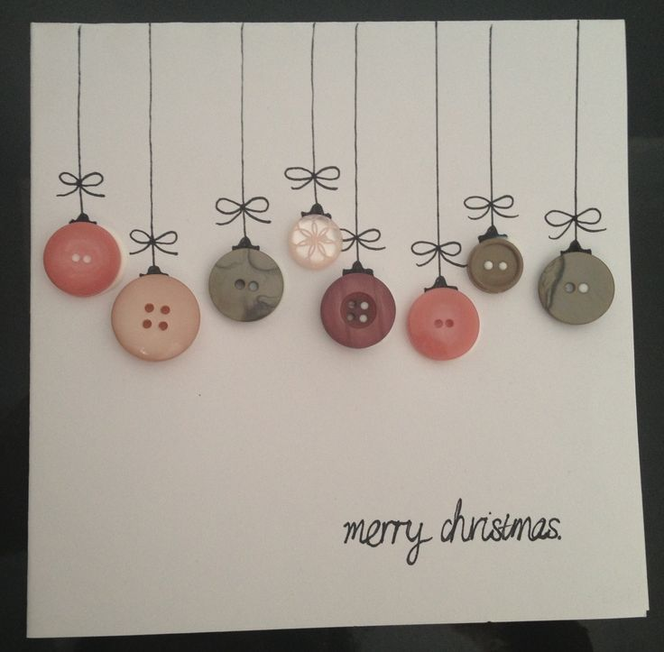 Card Making Christmas Ideas Part - 27: Homemade Christmas Cards. Buttons And Print Or Draw On Card.