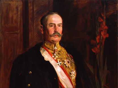 Ambassador Larz Anderson (1866-1937) -- DeWitt Lockman's portrait of Larz Anderson features the ambassador's diplomatic uniform and medals. By DeWitt M. Lockman, 1914