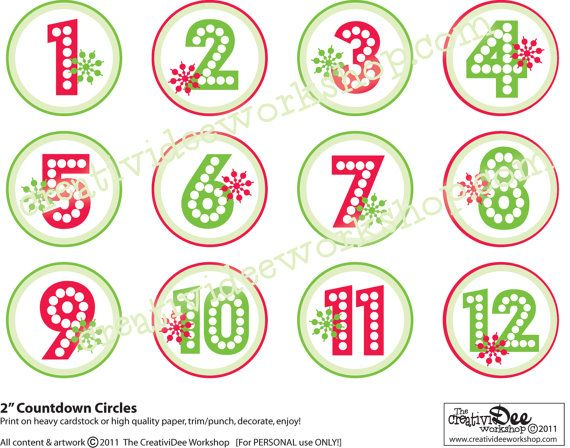 Advent Calendar Or Holiday Countdown  Diy Printable  Numbers