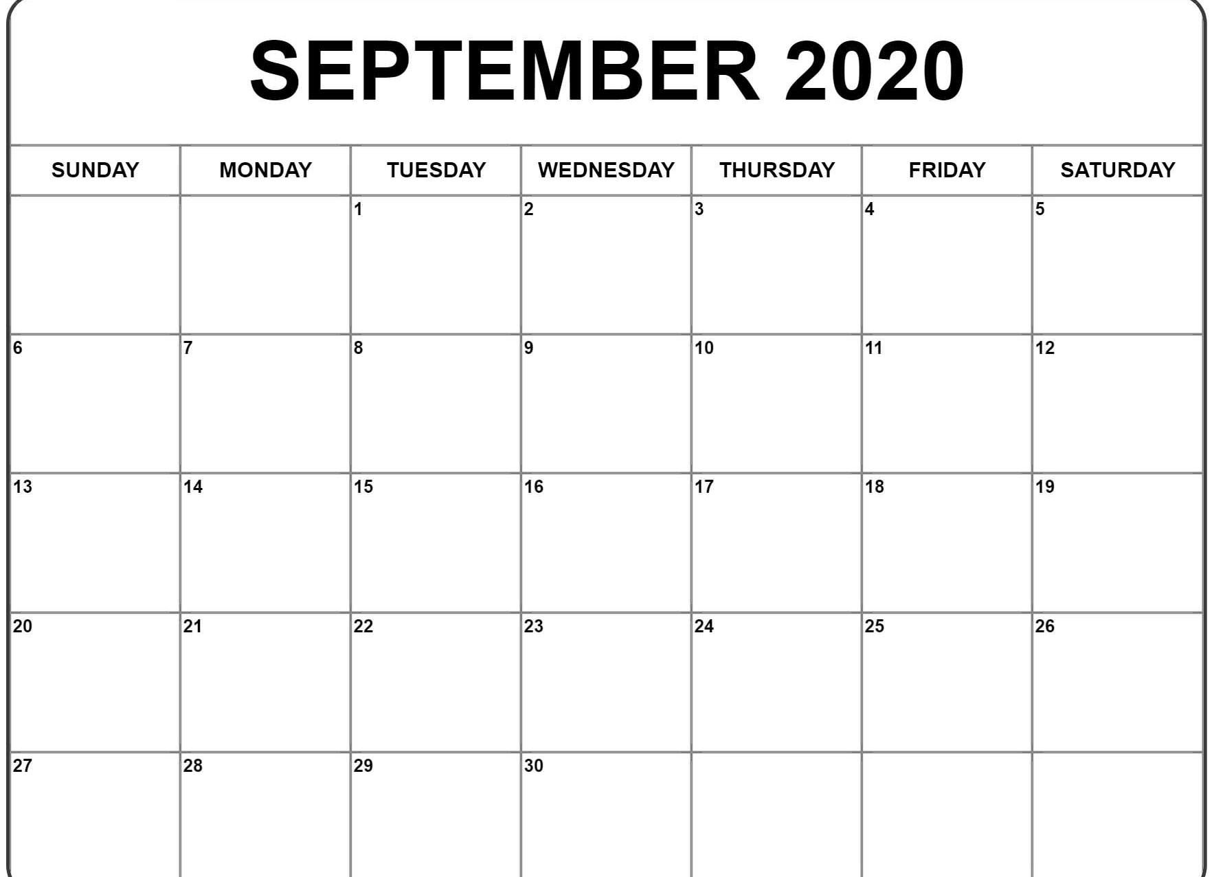 Awesome September 2020 Calendar Pdf Word Excel Printable
