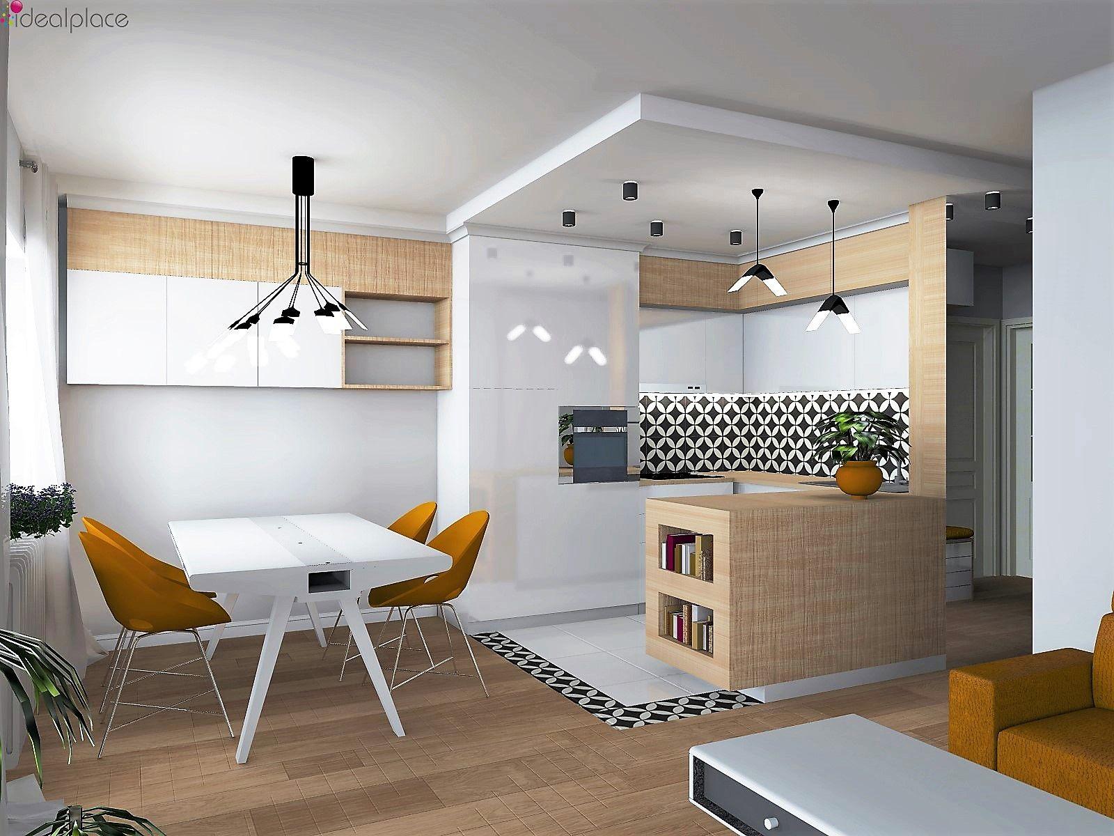 Projekt Mieszkania Chorzow Salon Z Aneksem Kuchennym Plytki Cementowe Oswietlenie Xcellent Flight I Um Kitchen Design Decor Contemporary Kitchen Home Decor