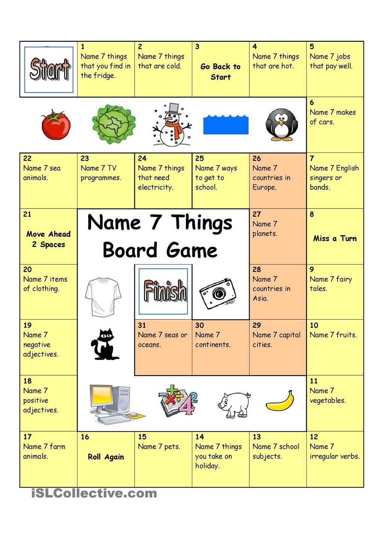 Board Game Name 3 Things (Hard) Speaking games, Board